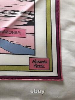 Authentic Hermes Wow Double Face Silk Scarf 90cm Rose Pink Vert Green
