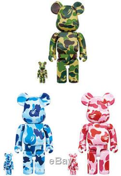 BE@RBRICK 100% 400% Set Green Pink Blue ABC BAPE Bathing Ape Rare BearBrick