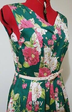 BNWT Review Harmony Floral Dress in Foliage Green & Pinks Fit & Flare Midi 12