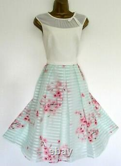 BNWT Ted Baker Dress TB 4 (UK 14) Idola Pink Mint Green Ivory Fit & Flare Lined