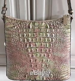 BRAHMIN Katie Atlas Crossbody Melbourne Croc Leather Shoulder Bag Pink Green