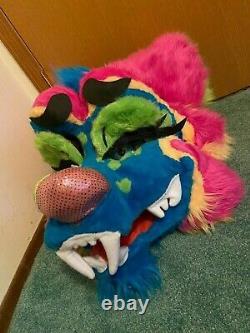 Badger, Bear Furry Fursuit Head pink yellow green blue mascothead soft sparkle