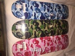 Bape Skateboard ABC CAMO Deck Set Of 3 GREEN PINK BLUE