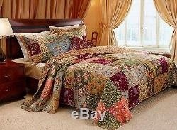 Beautiful Antique Vintage Red Rose Rust Soft Blue Pink Green Quilt Set King Size