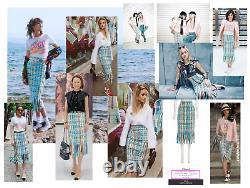Beautiful Chanel Cuba Tweed Fr38 Skirt In Pink, Cyan, Yellow, Green, Lilac, Etc