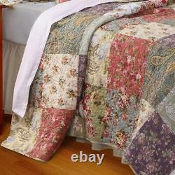 Beautiful Chic Cottage Pink Rose Red Purple Green Blue Shabby Floral Quilt Set