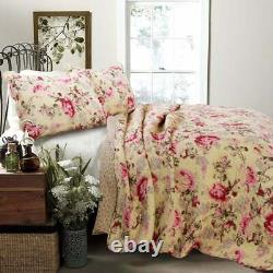 Beautiful Chic Cottage Shabby Pink Red Ivory Yellow Green Floral Rose Quilt Set