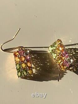 Beautiful Colours Yellow Pink Green Natural Sapphire, 9 Ct Solid Gold Earrings
