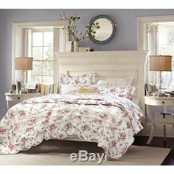 Beautiful Cotton Chic Green Pink Green Shabby Pink Red White Floral Quilt Set