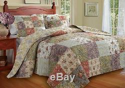 Beautiful Cozy Antique Vintage Country Green Pink Blue Patchwork Bedspread Set
