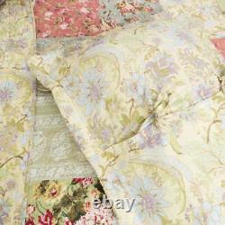 Beautiful Cozy Cottage Chic Country Pink Rose Green Blue Shabby Floral Quilt Set