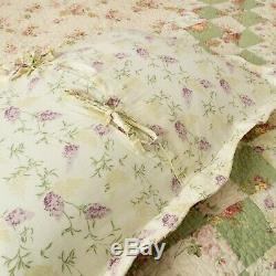 Beautiful Cozy Vintage Antique Sage Green Red Pink Rose Cottage Soft Quilt Set