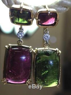Beautiful Green Pink 17CT Tourmaline Diamond 14K Yellow Gold Drop Earrings