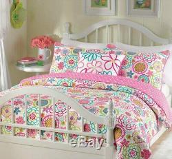 Beautiful Pink Blue Aqua Teal Purple Green Polka Dot Girls Quilt Comforter Set
