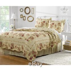 Beautiful Vintage Chic Cottage Ivory Yellow Gold Red Pink Green Rose Quilt Set