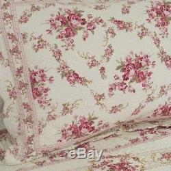 Beautiful Vintage Soft Cotton Floral Rose Red Pink Green White Ivory Quilt Set