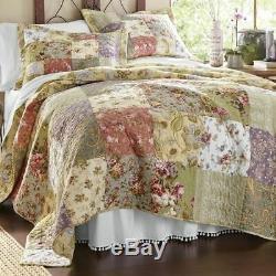 Beautiful XXL Oversize Antique Patchwork Blue Pink Green Floral Bedspread Set