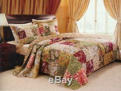 Beautiful XXXL Patchwork Green Pink Blue Red Vintage Rose Bedspread Quilt Set