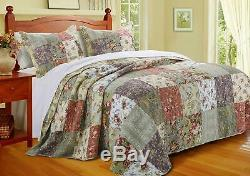 Beautiful XX Large Green Blue Pink Red Rose Ivory Patchwork Bedspread Quilt Set