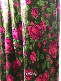 Betsey Johnson Pink Rose and Oak Green Leaves Velvet Dress, Small Bodycon Dress