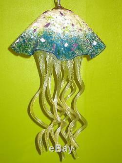 Blown Glass Chandelier Jellyfish Light Turquoise White Pink Purple Green
