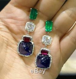 Blue Sapphire Pink Tourmaline White CZ Green Emerald Studded Bridal Drop Earring