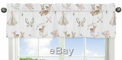 Blush Pink Mint Boho Watercolor Woodland Deer Floral 9p Baby Crib Bedding Set