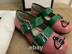 Bn Gucci Infant Pink & Green Twin Strap Bee Ballet Shoes Size 7.5 Uk