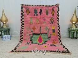 Boujaad Moroccan Vintage Handmade Rug 4'3x9'3 Berber Abstract Pink Green Rug