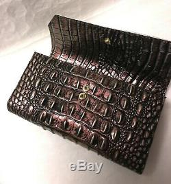 Brahmin JASPER Soft Checkbook Trifold Leather Wallet NIRVANA Plum Pink Green NWT