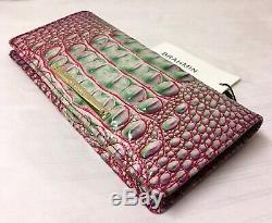 Brahmin Melbourne ADY Slim Bifold Wallet Clutch JULEP Pink Purple Green NWT Rare