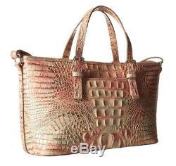 Brahmin Mini Asher Sandstone Marbled Pink Green Tassel Croc Crossbody Leather