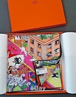 Brand new Auth. Hermes Silk scarf Animapolis 90 Yellow Green Pink Grail box tag