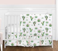 Bumperless Pink Green Boho Watercolor Cactus Floral Baby Girl Crib Bedding Set