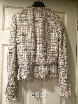 CHANEL 05P NEW MOST WANTED LESAGE TWEED PINK Green FRINGED JACKET FR38 $7K