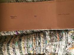 CHANEL 08C NEW TAGS TWEED Ecru Pink Green JACKET COCO BUTTONS BELT FR40-FR42 $7K