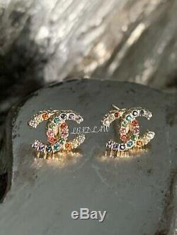 CHANEL Multicolor Earrings 19S Rainbow Crystal CC Stud Pink Green Blue Gold BNWT