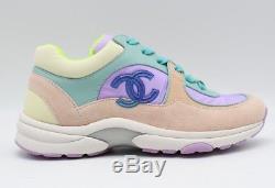 CHANEL Nylon Lambskin Suede Calfskin Sport Runner Sneaker Green/Purple/Pink 39