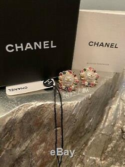 CHANEL Pearl Earrings 19S CC Studs Multicolor Pink Green Gold 2019 AB1320 Y47591