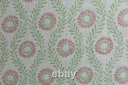 COLEFAX AND FOWLER CURTAIN FABRIC DESIGN Swift 6 METRES PINK/GREEN 100% LINEN