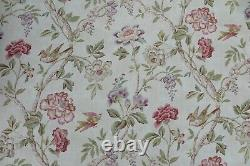 COLEFAX AND FOWLER CURTAIN FABRIC DESIGN leonnora 6.6 METRES PINK/GREEN LINEN