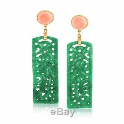 Carved Green Jade & Pink Coral Drop Earrings in 14kt Gold Over Sterling