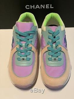 Chanel 19C CC Logo Green Purple Pink Suede Lace Up Sneakers Trainers 37 Cruise