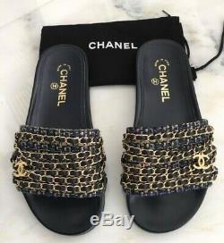 Chanel Mules Slides Grn/navy/pink 38 New