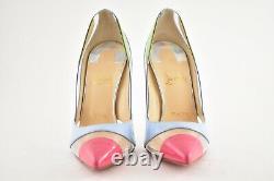 Christian Louboutin Blake Is Back 120 Blue Pink Green Patent PVC Heel Pump 36