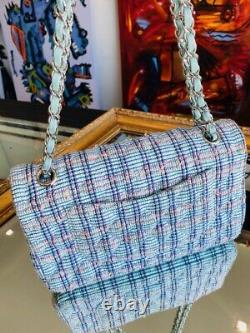 Classic Medium Chanel Quilted Tweed Flap Bag Blue, White, Pink, Green