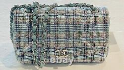 Classic Mini Chanel Quilted Tweed Flap Bag Blue, White, Pink, Green