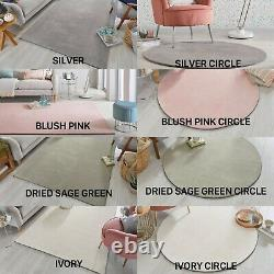 Cleo Trendy Pink, Green, Silver Ivory Colours Plain Soft Circle Rug Carpet