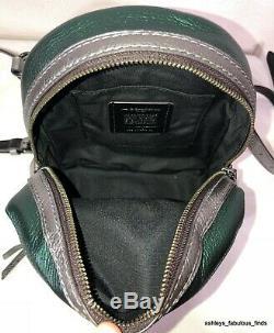 Coach Andi Backpack In Metallic Colorblock Shoulder Bag Purple Pink Green F49122