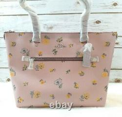 Coach Womens Gallery Tote Bag Pink Green Dandelion Floral Pockets Zipper New
